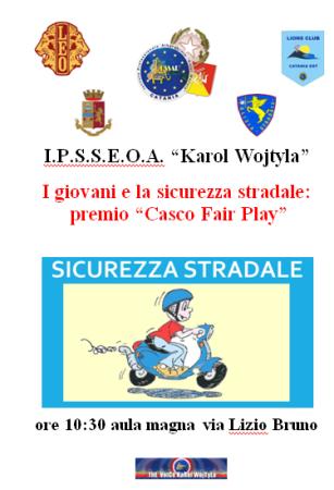 """All'Istituto Alberghiero """"Karol Wojtyla"""" di Catania, la seconda edizione del premio """"Casco Fair Play"""""""