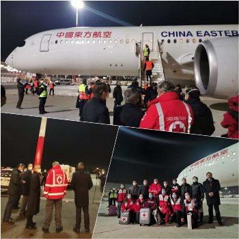 Team di specialisti cinesi e oltre 30 tonnellate di forniture mediche sbarcati a Fiumicino