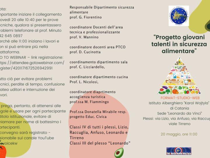 """""""Progetto giovani talenti in sicurezza alimentare"""""""