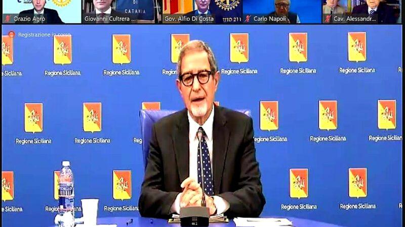 """Il presidente della Regione, Nello Musumeci, ospite del Rotary """"Catania"""", ha svolto un tema ambizioso collegato all'""""Agenda 2030"""" dell'Onu"""