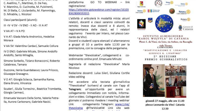 """Convegno """" Beatificazione e legalità giudice R. Livatino"""" 2° edizione Premio giornalistico Thevoicekw"""