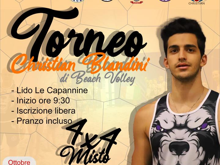 Primo torneo di Beach Volley per ricordare Christian Blandini, organizzato da Masterball Academy per ricordare l'amico e atleta Christian ad un mese dalla sua improvvisa scomparsa.